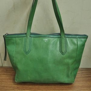 Fossil Green Sydney Leather Shopper Tote Bag